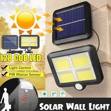 128 led solarleuchte bewegungsmelder solarstrahler solarle außen gartenle wandle mit solarpanel