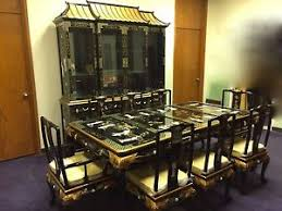 Image Is Loading Oriental Dining Room Set Furniture Black Lacquer China