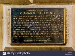 Plaque outside the Cunard Building New York City USA Stock