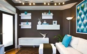 Living Room In Turquoise Dark Brown And White