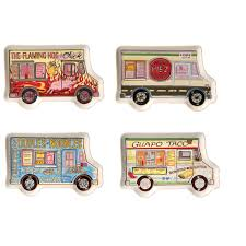 100 Snack Truck Set Of 4 Food Plates Novelty Ceramic VehicleShaped