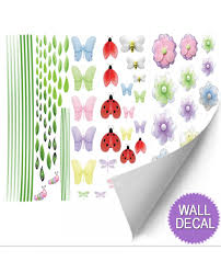 Wall Mural Decals Flowers by Butterfly Garden Decorative Decals Dragonfly Peel U0026 Stick Wall