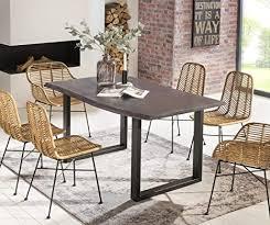 salesfever esszimmer tisch 160x85 cm akazie echte baumkante grau farbig schwarzes u gestell aus metall massiv holz
