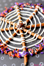 Halloween Pretzel Rod Treats by Pretzel Candy Spiderwebs For Halloween