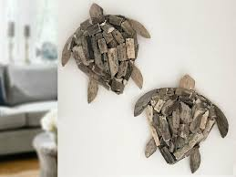 2x schildkröte treibholz maritim deko wanddeko holz dekofigur