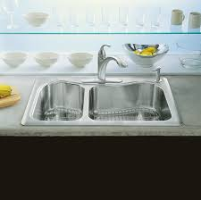 Stainless Steel Sink Grid Amazon by Kohler K 3361 4 Na Staccato Dual Large Medium Self Rimming Kitchen