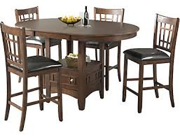 Max 5 Piece Dining Table Set Counter And 4 Chairs Brown Finish