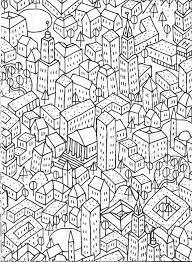 Cityscape Coloring Page Vida Simples Cidade Dos Sonhos