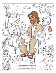Charming Jesus And The Children Coloring Page Places Adult With In Uncategorized Style