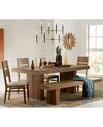 Furniture CLOSEOUT Champagne Dining Room 6 Piece Set Trestle Table 4 Side Chairs Bench
