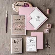 Rustic Wedding Invitation Set 20 Suite Pink