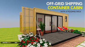 100 Off Grid Shipping Container Homes Grid Cabin Prefab Design With A Folding Deck MODBOX 160F By SHELTERMODE