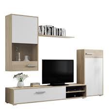 mirjan24 wohnwand stilvoll schrankwand wohnzimmer set mediawand vom hersteller farbe sonoma eiche weiß