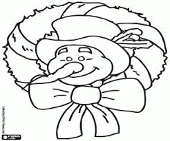 Christmas Wreath Snowman Advertisement With Poinsettias Coloring Page