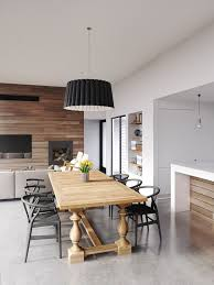 Fabulous Dining Room Design With White Color And Wooden Accent