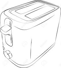 Sketched Line Drawing Of A Modern 2 Slice Toaster Stock Vector