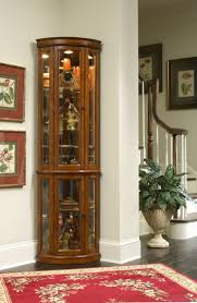 lighted curio cabinets cymun designs oak corner cabinet with