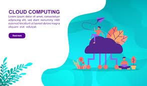 100 Flat Cloud Computing Design Concept