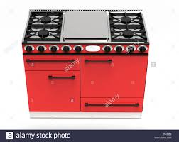 Modern Kitchen Appliance Digital Drawing Of A Red Gas Stove With Hotplates And Four Ovens Viewed High Angle Clipping Path