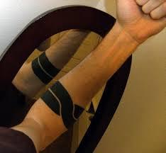 Unique Black Line Armband Tattoo On Forearm