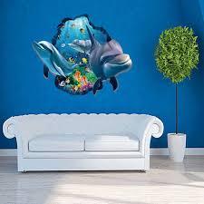 chambre dauphin 3d dauphin mur amovible autocollant pvc 3d mur autocollants