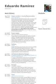 Project Architect Country Representative Resume Samples