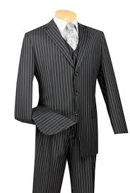 1930s Style Mens Suits 3 Piece Bold Chalk Pinstripe Black Three Vested Suit 16500