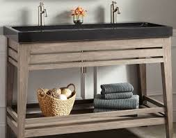 Trough Sink Vanity With Two Faucets by Sink Cozy Travertine Tile Floor With Oak Wood Costco Vanity And