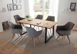 essgruppe esszimmer 7 tlg eiche massiv 40mm hellgrau günstig möbel küchen büromöbel kaufen froschkönig24