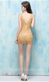 v neck see through gold lace night out club mini party dress