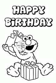Happy Birthday With Elmo Coloring Page For Kids Holiday Pages Printables Free