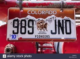 100 Truck License Plate On An Old Fire Truck Ridgway Colorado USA Stock