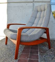 100 Modern Style Lounge Chair Danish Teak ButtonTufted And Ottoman At
