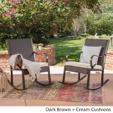Shop Harmony Outdoor Rocking Chair (Set Of 2) By Christopher Knight ... Hanover Outdoor Orleans 5piece Porch Rocker Set With Cherry Red Retro Patio 3 Pc Metal Rocking Chair Tortuga Portside Plantation Dark Roast 3piece Wicker White Plastic Chairs Cr Generation The Classic All Weather Bayview Magnolia Art Epicenters Austin Paint Darrow Polywood Jefferson Pwrockerset3 Fniture 3pc Lazboy Avery Piece Bistro In Blue Kmart