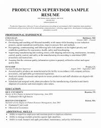 Manufacturing Supervisor Resume Sample Free Best Gallery Of Production
