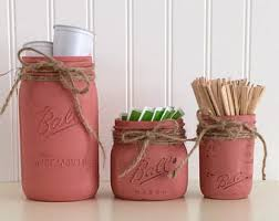 Mason Jar Storage Red Canister Set Coffee Kitchen