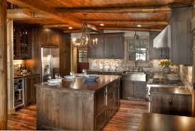 American woodmark cabinets kitchen rustic with log beams log house