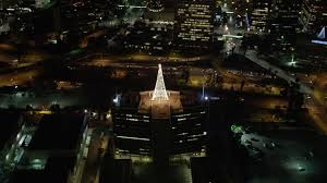 5K Aerial Video Orbiting Christmas Tree Made Of Lights In Downtown Los Angeles At Night