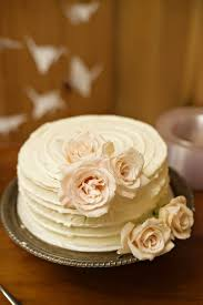 Country Barn Wedding Vintage Cake With Roses And Ruffled Icing