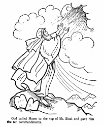 Moses Bible Story Coloring PageMoses Went To The Top Of Mt Sinai Receive Ten Commandments From God