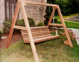 Wood Porch Swing With Frame Red Cedar American Classic 14 Outdoor