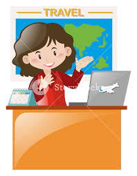 Woman Working At Travel Agency Illustration