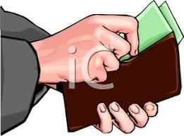 Hands Taking Money Out of a Wallet Clipart Image