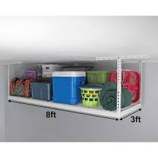 saferacks 3 ft x 8 ft overhead garage storage rack and accessories kit