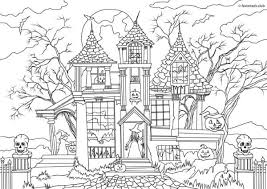 Horror Scenes Haunted House Printable Coloring Page