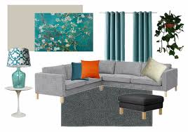 White Grey And Teal Living Room