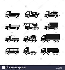 100 Different Trucks Set Of Icons Of On A White Background Of