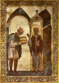 King AEthelstan Presenting An Illuminated Manuscript To St Cuthbert C 930