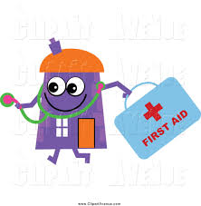Avenue Clipart Of A Purple House Character Doctor With First Aid Kit