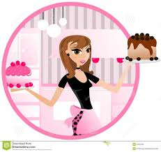 young woman holding cake baking clipart
